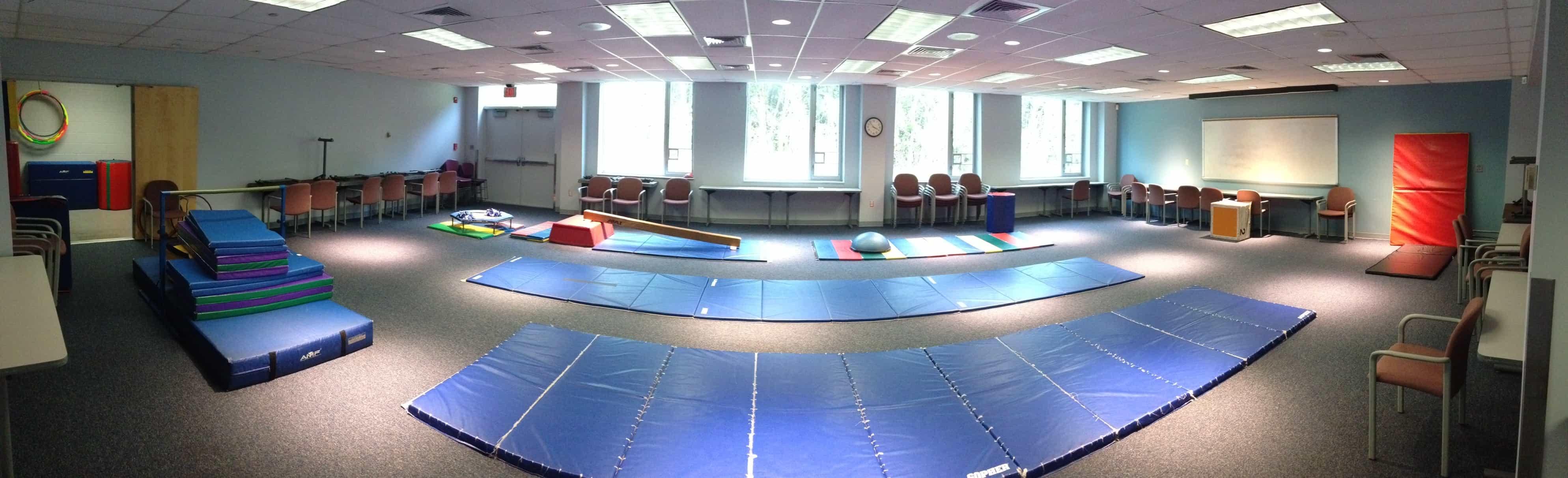 Gymnastic party room setup
